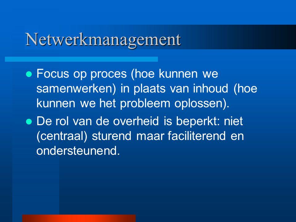 Netwerkmanagement Focus op proces (hoe kunnen we samenwerken) in plaats van inhoud (hoe kunnen we het probleem oplossen). De rol van de overheid is be