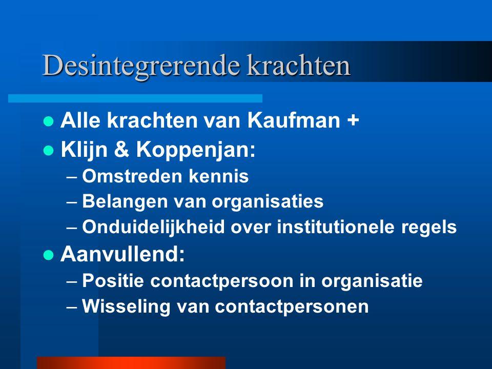 Desintegrerende krachten Alle krachten van Kaufman + Klijn & Koppenjan: –Omstreden kennis –Belangen van organisaties –Onduidelijkheid over institution