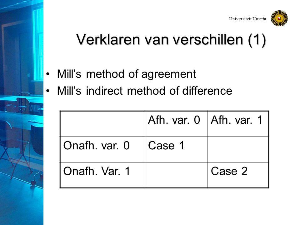 Universiteit Utrecht Verklaren van verschillen (1) Mill's method of agreement Mill's indirect method of difference Afh.