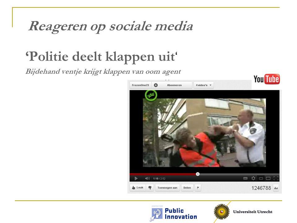 Opbouw 1.Praktijkervaringen Algemeen Twitter YouTube Reageren op sociale media 2.