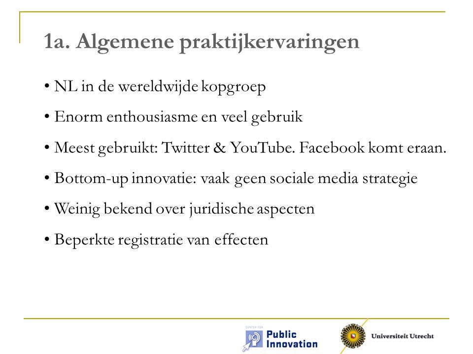 1a. Algemene praktijkervaringen NL in de wereldwijde kopgroep Enorm enthousiasme en veel gebruik Meest gebruikt: Twitter & YouTube. Facebook komt eraa