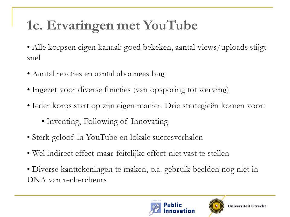 1c. Ervaringen met YouTube Alle korpsen eigen kanaal: goed bekeken, aantal views/uploads stijgt snel Aantal reacties en aantal abonnees laag Ingezet v
