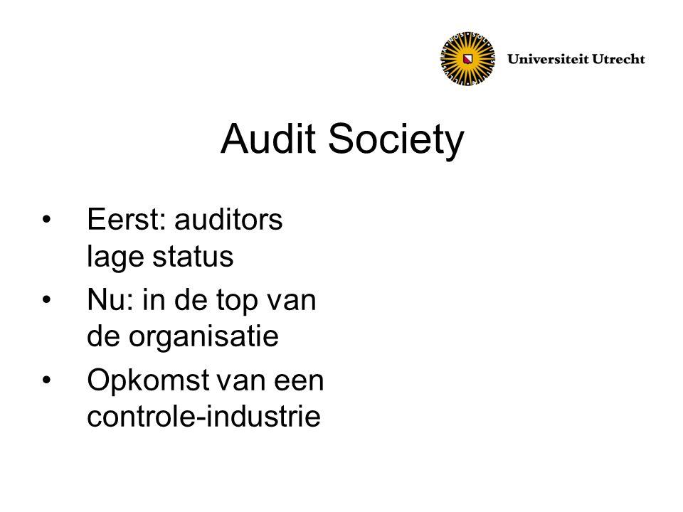 Audit Society Eerst: auditors lage status Nu: in de top van de organisatie Opkomst van een controle-industrie
