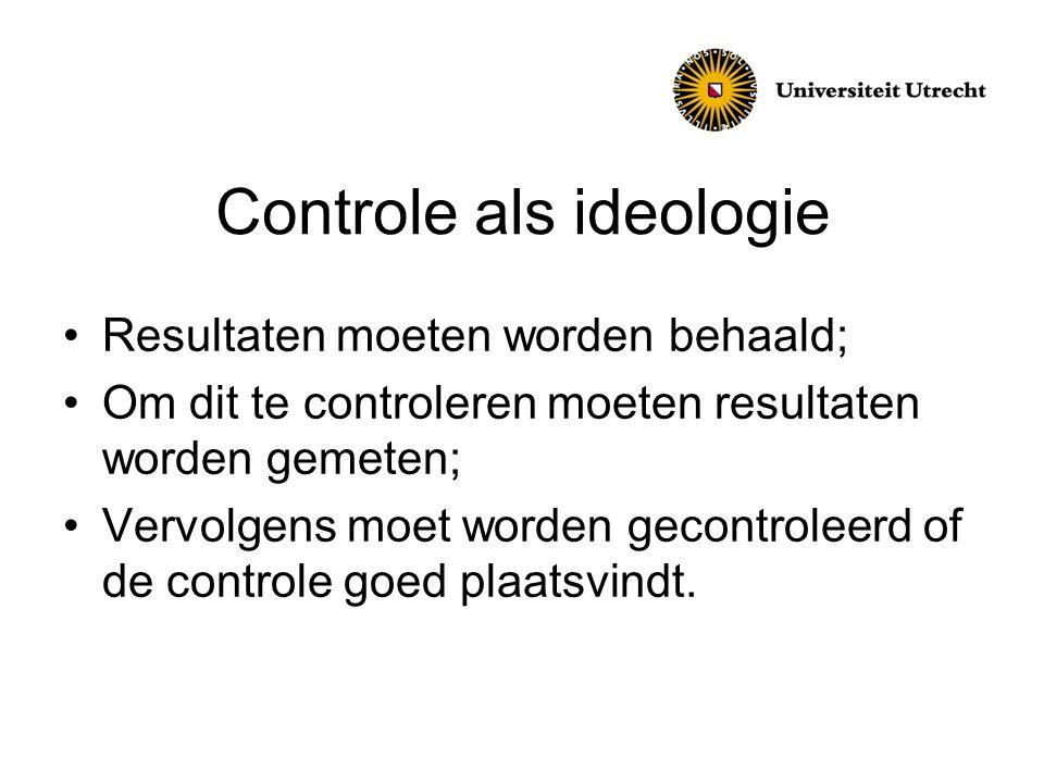 Controle als ideologie Resultaten moeten worden behaald; Om dit te controleren moeten resultaten worden gemeten; Vervolgens moet worden gecontroleerd of de controle goed plaatsvindt.