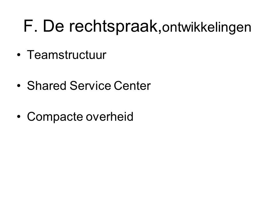F. De rechtspraak, ontwikkelingen Teamstructuur Shared Service Center Compacte overheid
