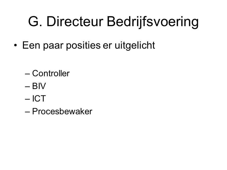 G. Directeur Bedrijfsvoering Een paar posities er uitgelicht –Controller –BIV –ICT –Procesbewaker