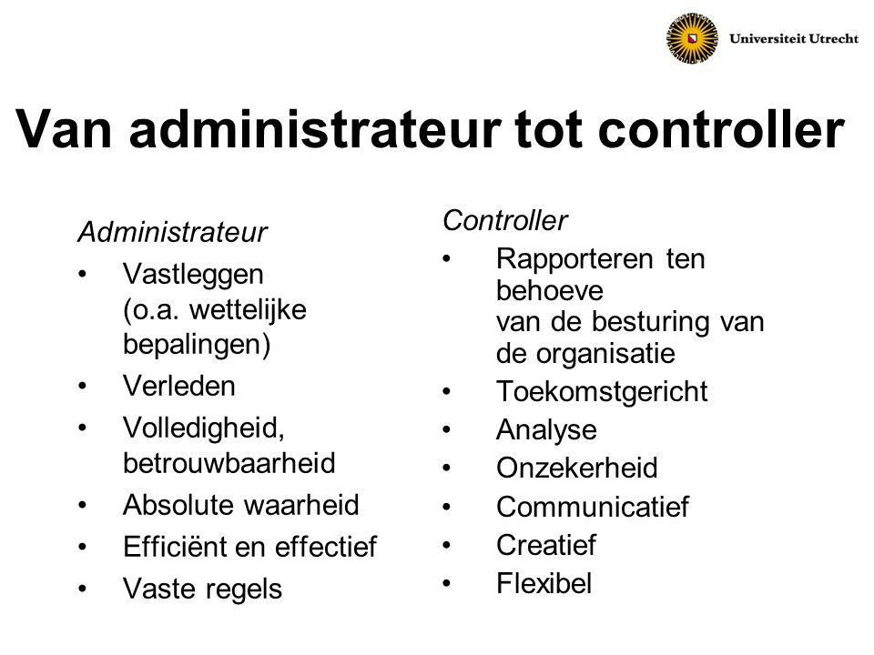 Van administrateur tot controller Administrateur Vastleggen (o.a.