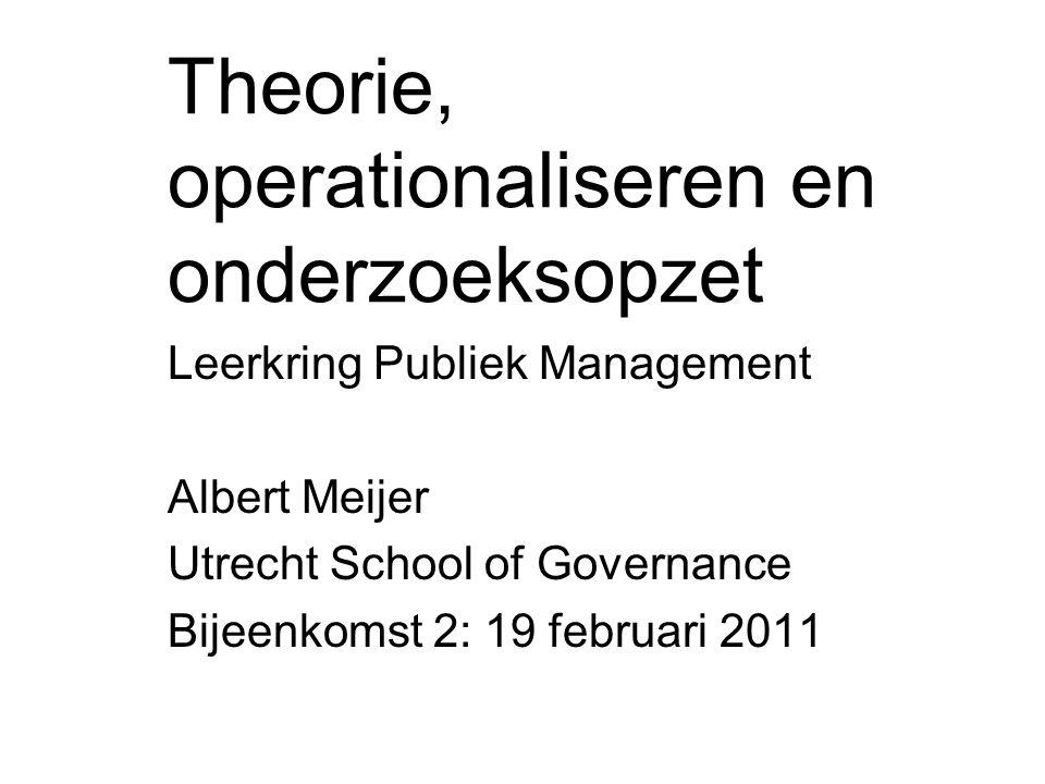 Theorie, operationaliseren en onderzoeksopzet Leerkring Publiek Management Albert Meijer Utrecht School of Governance Bijeenkomst 2: 19 februari 2011