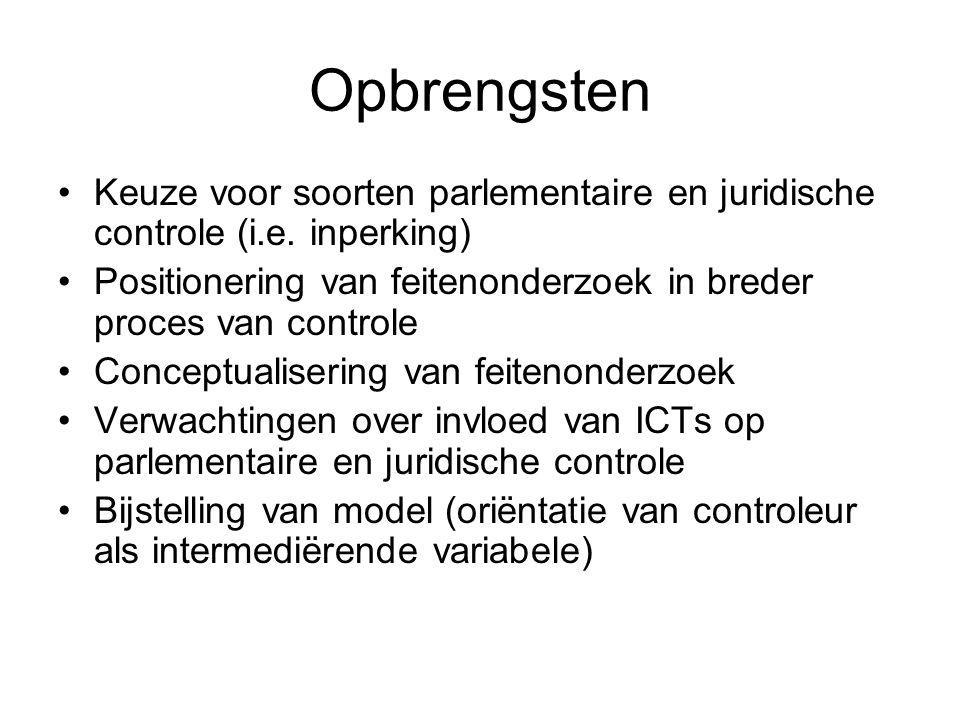 Opbrengsten Keuze voor soorten parlementaire en juridische controle (i.e.