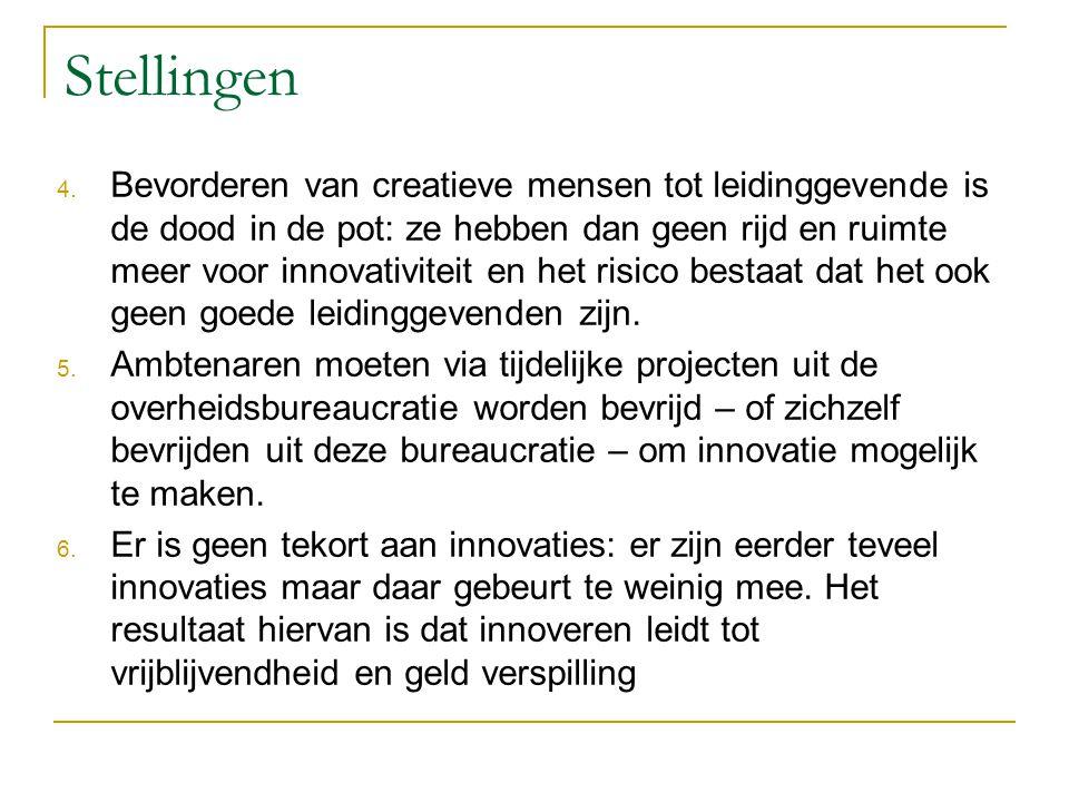 Stellingen 4. Bevorderen van creatieve mensen tot leidinggevende is de dood in de pot: ze hebben dan geen rijd en ruimte meer voor innovativiteit en h
