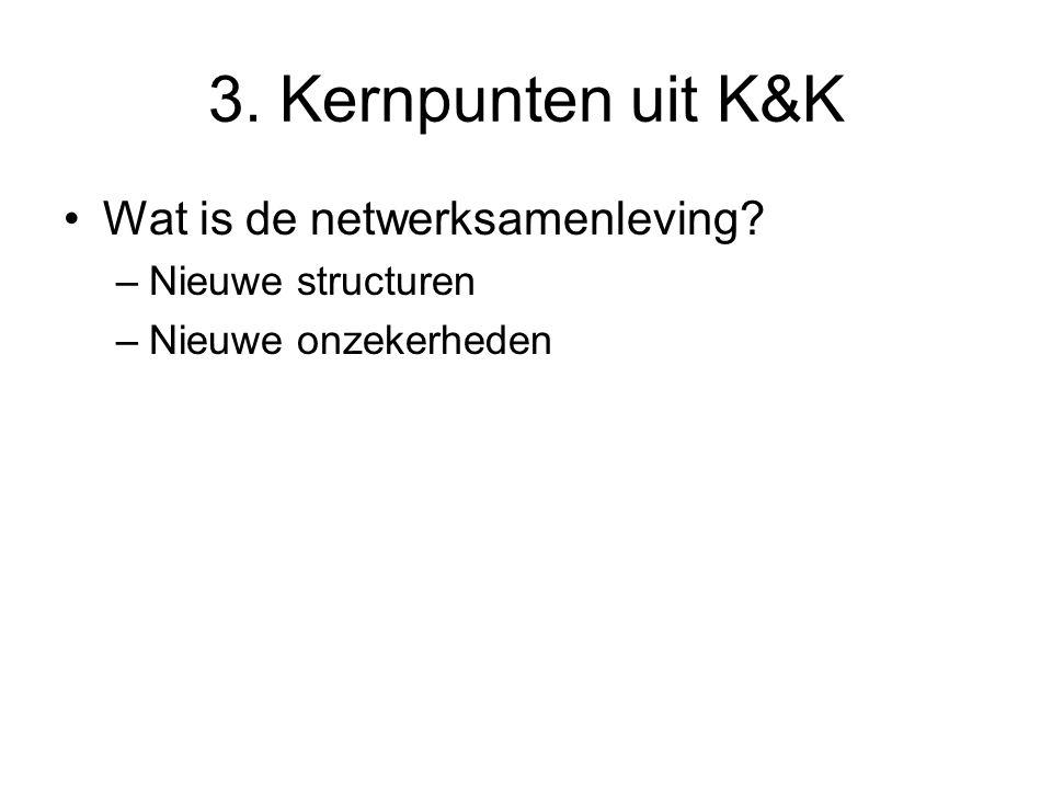 3. Kernpunten uit K&K Wat is de netwerksamenleving? –Nieuwe structuren –Nieuwe onzekerheden