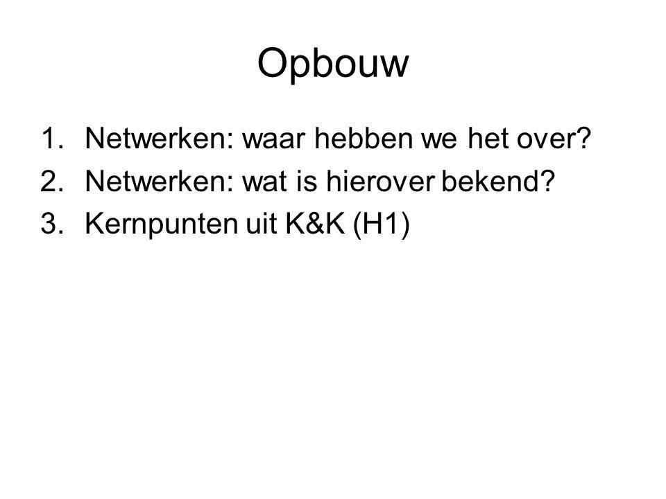 Opbouw 1.Netwerken: waar hebben we het over.2.Netwerken: wat is hierover bekend.