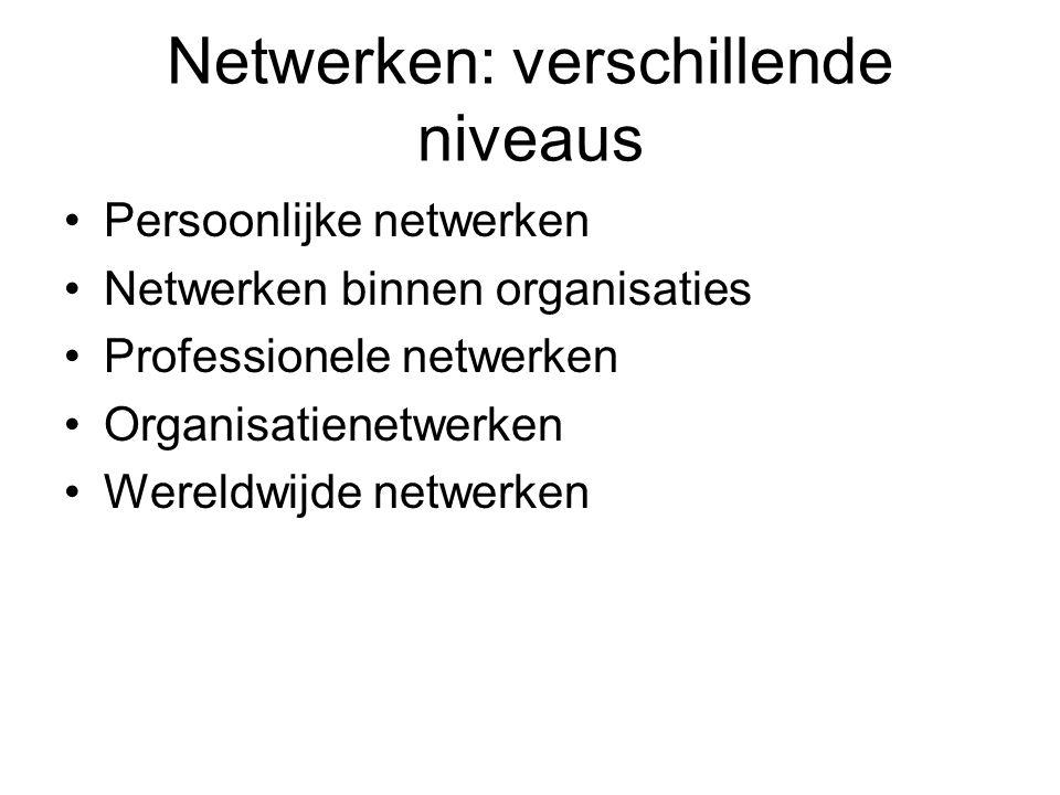 Netwerken: verschillende niveaus Persoonlijke netwerken Netwerken binnen organisaties Professionele netwerken Organisatienetwerken Wereldwijde netwerken
