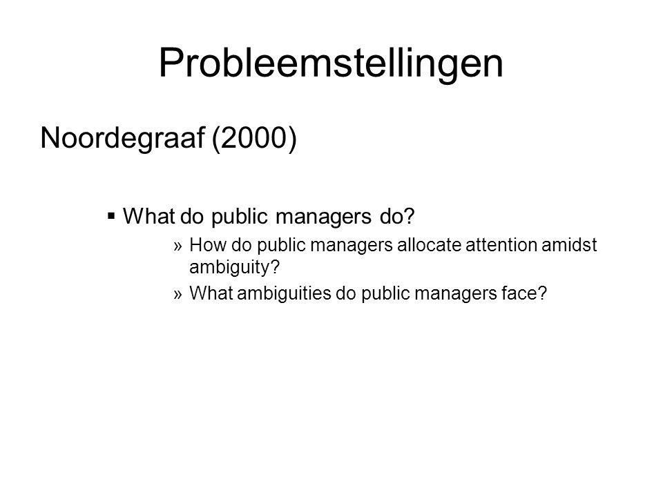 Probleemstellingen Noordegraaf (2000)  What do public managers do.