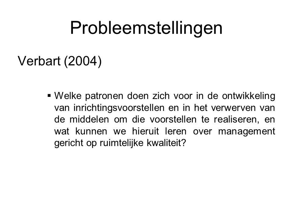 Probleemstellingen Verbart (2004)  Welke patronen doen zich voor in de ontwikkeling van inrichtingsvoorstellen en in het verwerven van de middelen om