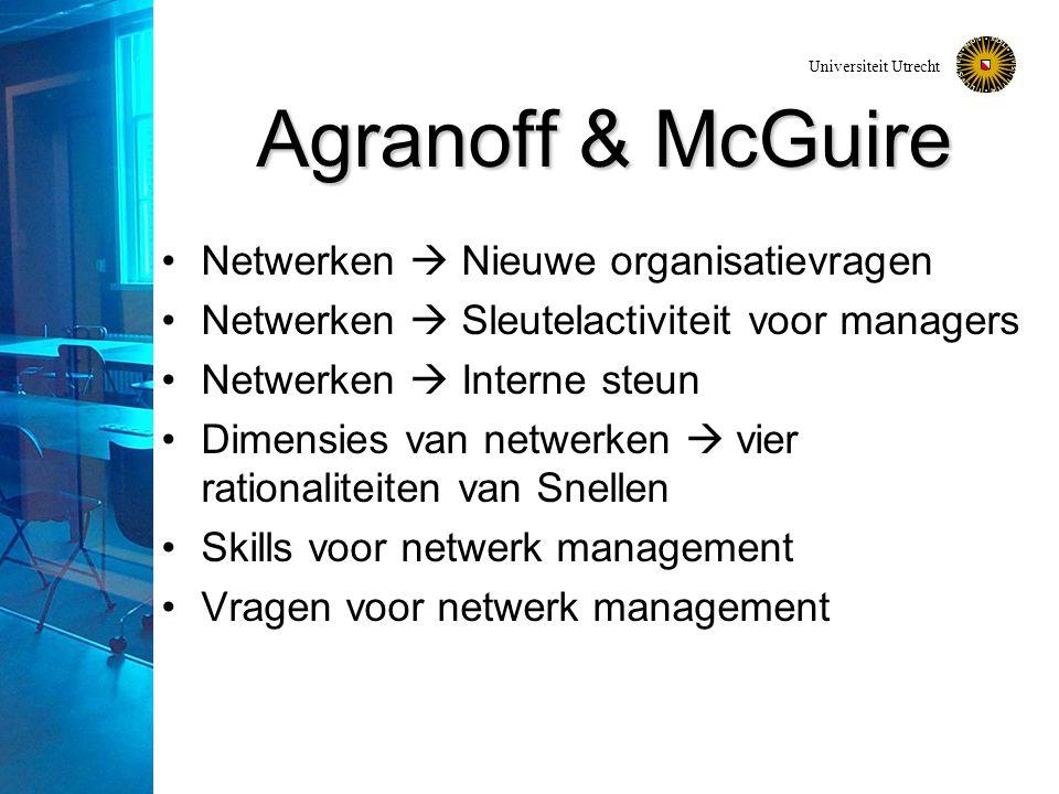 Universiteit Utrecht Agranoff & McGuire Netwerken  Nieuwe organisatievragen Netwerken  Sleutelactiviteit voor managers Netwerken  Interne steun Dimensies van netwerken  vier rationaliteiten van Snellen Skills voor netwerk management Vragen voor netwerk management