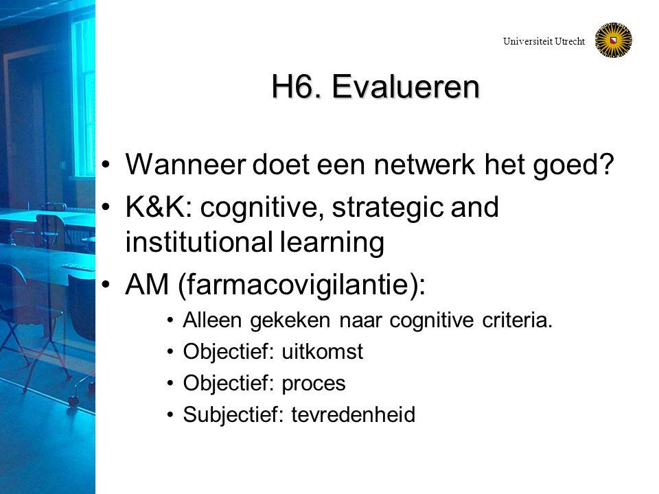 Universiteit Utrecht H6. Evalueren Wanneer doet een netwerk het goed? K&K: cognitive, strategic and institutional learning AM (farmacovigilantie): All