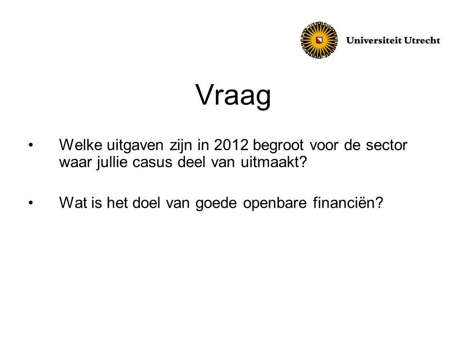 Vraag Welke uitgaven zijn in 2012 begroot voor de sector waar jullie casus deel van uitmaakt.