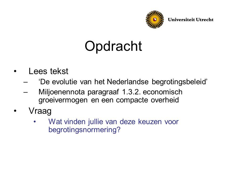 Opdracht Lees tekst –'De evolutie van het Nederlandse begrotingsbeleid' –Miljoenennota paragraaf 1.3.2. economisch groeivermogen en een compacte overh