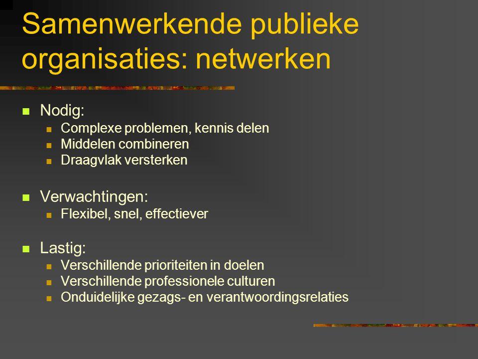 Samenwerkende publieke organisaties: netwerken Nodig: Complexe problemen, kennis delen Middelen combineren Draagvlak versterken Verwachtingen: Flexibe