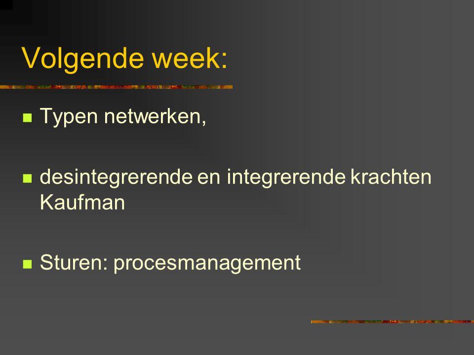 Volgende week: Typen netwerken, desintegrerende en integrerende krachten Kaufman Sturen: procesmanagement