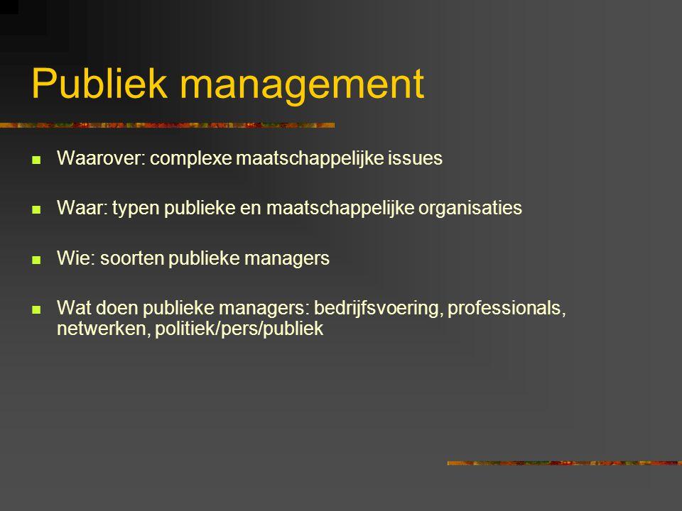 Publiek management Waarover: complexe maatschappelijke issues Waar: typen publieke en maatschappelijke organisaties Wie: soorten publieke managers Wat