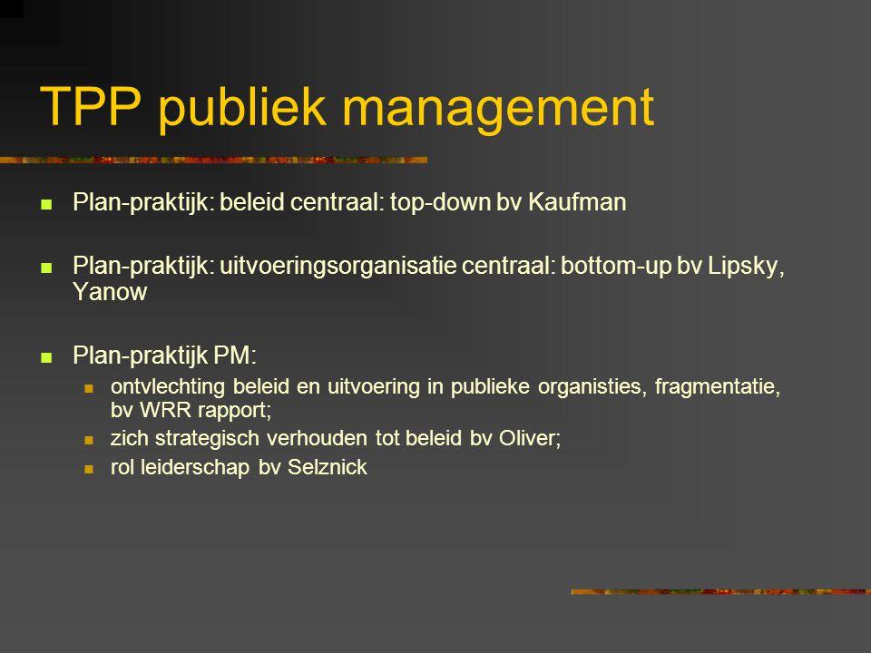 TPP publiek management Plan-praktijk: beleid centraal: top-down bv Kaufman Plan-praktijk: uitvoeringsorganisatie centraal: bottom-up bv Lipsky, Yanow