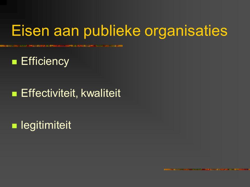 Eisen aan publieke organisaties Efficiency Effectiviteit, kwaliteit legitimiteit
