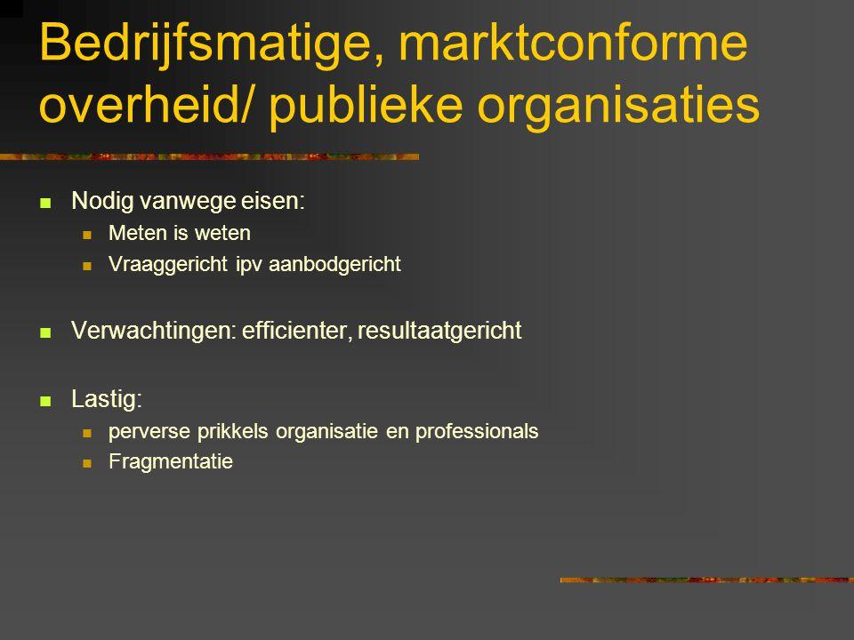 Bedrijfsmatige, marktconforme overheid/ publieke organisaties Nodig vanwege eisen: Meten is weten Vraaggericht ipv aanbodgericht Verwachtingen: effici