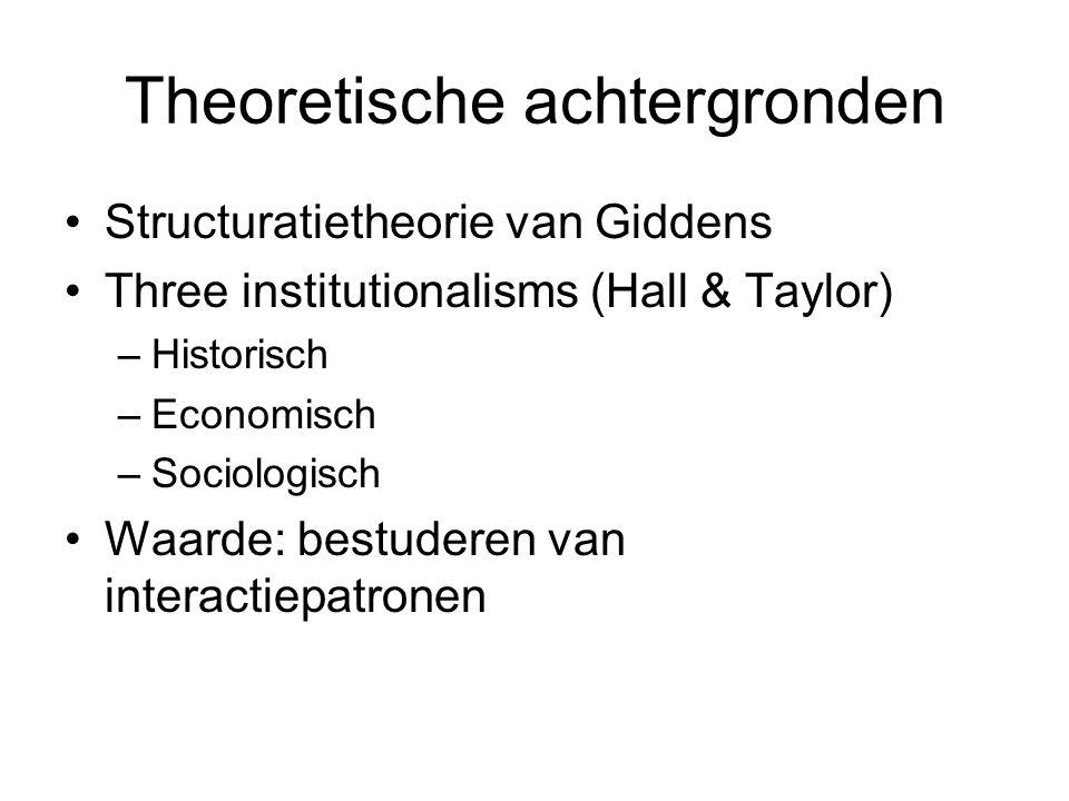 Theoretische achtergronden Structuratietheorie van Giddens Three institutionalisms (Hall & Taylor) –Historisch –Economisch –Sociologisch Waarde: bestuderen van interactiepatronen