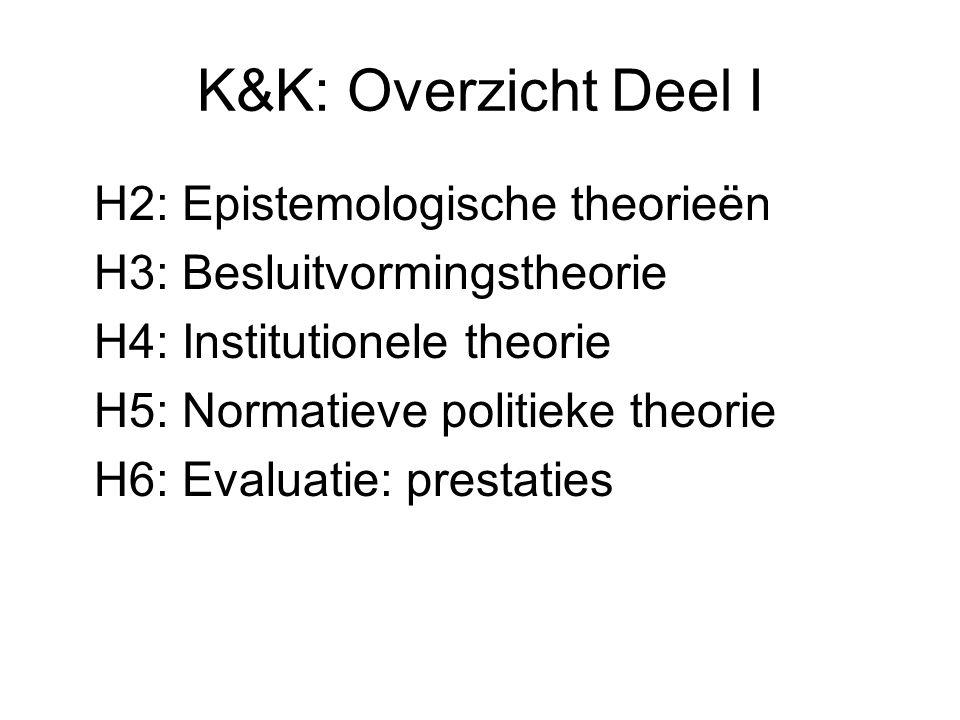 K&K: Overzicht Deel I H2: Epistemologische theorieën H3: Besluitvormingstheorie H4: Institutionele theorie H5: Normatieve politieke theorie H6: Evaluatie: prestaties