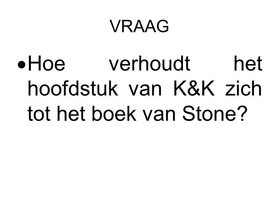 VRAAG  Hoe verhoudt het hoofdstuk van K&K zich tot het boek van Stone
