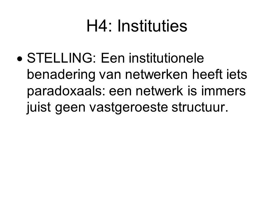 H4: Instituties  STELLING: Een institutionele benadering van netwerken heeft iets paradoxaals: een netwerk is immers juist geen vastgeroeste structuur.