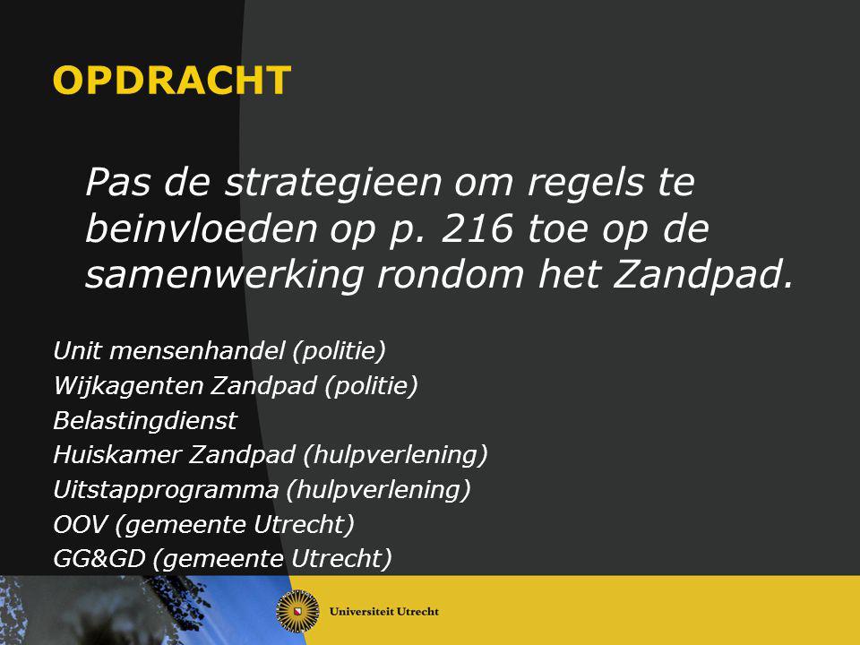 OPDRACHT Pas de strategieen om regels te beinvloeden op p. 216 toe op de samenwerking rondom het Zandpad. Unit mensenhandel (politie) Wijkagenten Zand