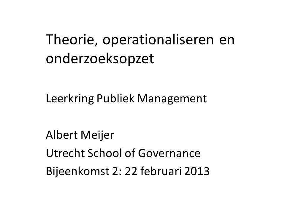 Theorie, operationaliseren en onderzoeksopzet Leerkring Publiek Management Albert Meijer Utrecht School of Governance Bijeenkomst 2: 22 februari 2013