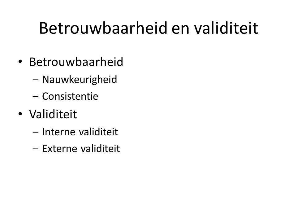 Betrouwbaarheid en validiteit Betrouwbaarheid –Nauwkeurigheid –Consistentie Validiteit –Interne validiteit –Externe validiteit