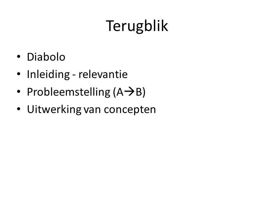 Terugblik Diabolo Inleiding - relevantie Probleemstelling (A  B) Uitwerking van concepten