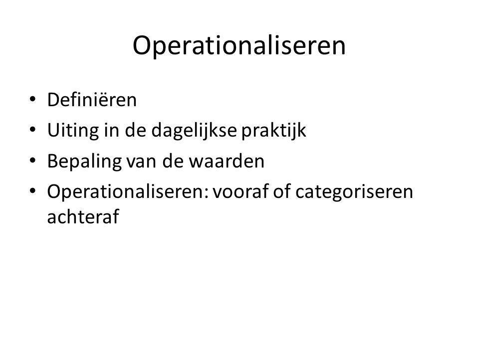 Operationaliseren Definiëren Uiting in de dagelijkse praktijk Bepaling van de waarden Operationaliseren: vooraf of categoriseren achteraf