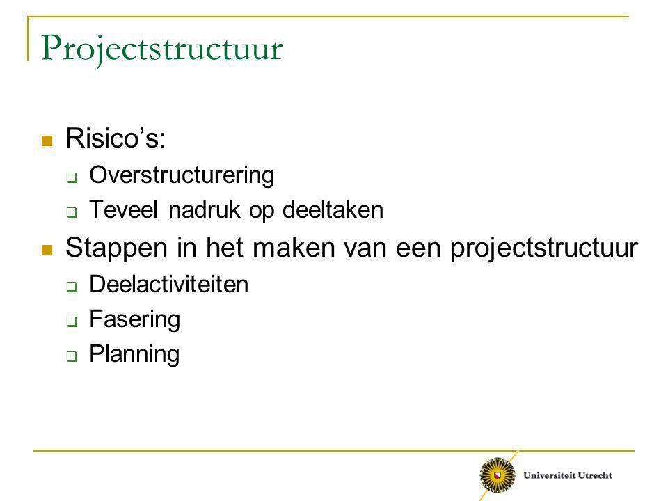Projectstructuur Risico's:  Overstructurering  Teveel nadruk op deeltaken Stappen in het maken van een projectstructuur  Deelactiviteiten  Fasering  Planning