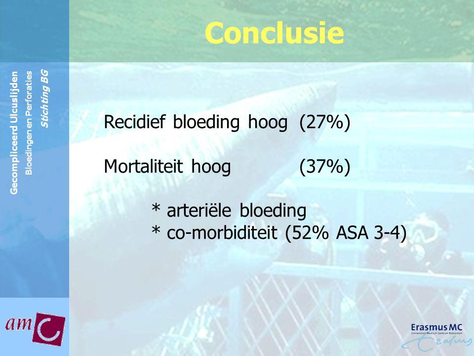 Reinier de Graaf Groep Gecompliceerd Ulcuslijden Bloedingen en Perforaties Stichting BG Conclusie Recidief bloeding hoog (27%) Mortaliteit hoog (37%)