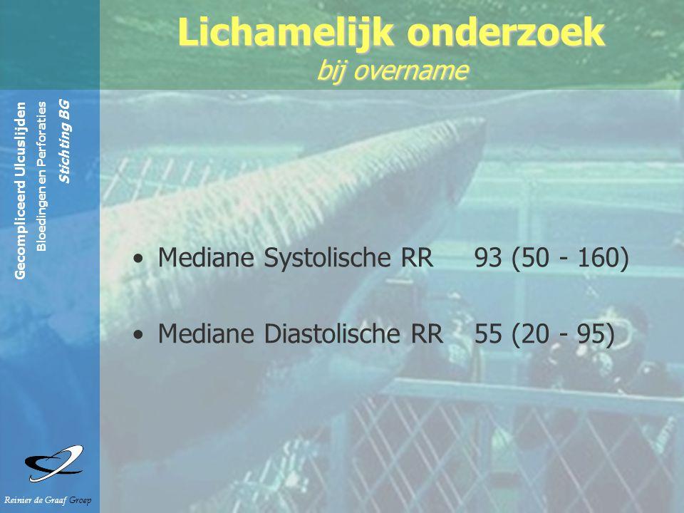 Gecompliceerd Ulcuslijden Bloedingen en Perforaties Stichting BG Reinier de Graaf Groep Mediane Systolische RR 93 (50 - 160) Mediane Diastolische RR 55 (20 - 95) Lichamelijk onderzoek bij overname