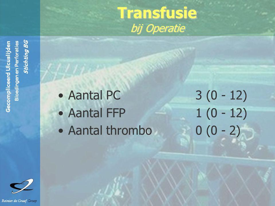 Gecompliceerd Ulcuslijden Bloedingen en Perforaties Stichting BG Reinier de Graaf Groep Aantal PC 3 (0 - 12) Aantal FFP 1 (0 - 12) Aantal thrombo0 (0 - 2) Transfusie bij Operatie