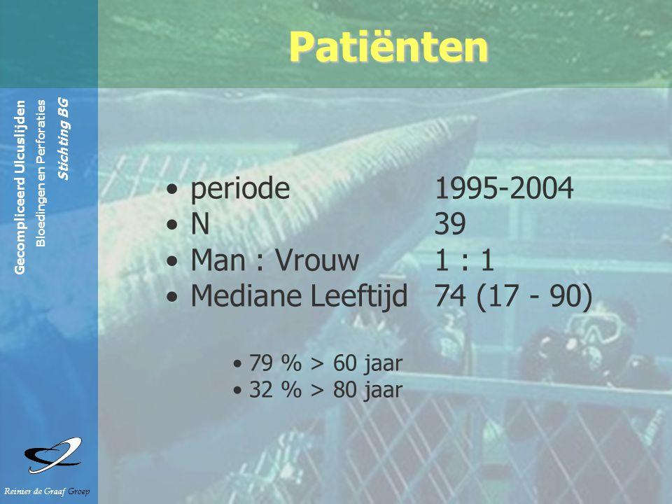 Gecompliceerd Ulcuslijden Bloedingen en Perforaties Stichting BG Reinier de Graaf Groep Patiënten periode 1995-2004 N 39 Man : Vrouw1 : 1 Mediane Leeftijd 74 (17 - 90) 79 % > 60 jaar 32 % > 80 jaar