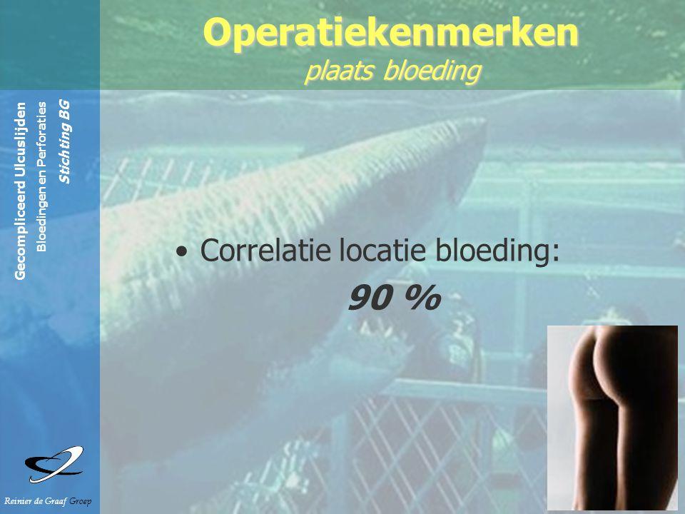 Gecompliceerd Ulcuslijden Bloedingen en Perforaties Stichting BG Reinier de Graaf Groep Operatiekenmerken plaats bloeding Correlatie locatie bloeding: 90 %