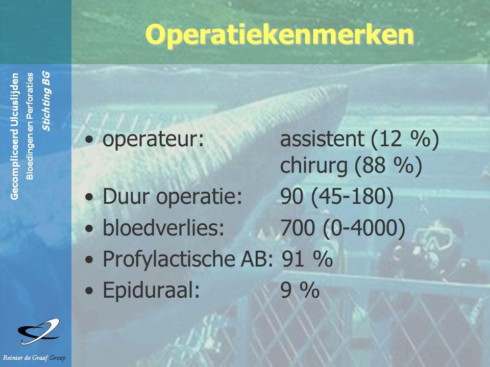 Gecompliceerd Ulcuslijden Bloedingen en Perforaties Stichting BG Reinier de Graaf Groep operateur: assistent (12 %) chirurg (88 %) Duur operatie: 90 (45-180) bloedverlies: 700 (0-4000) Profylactische AB: 91 % Epiduraal: 9 % Operatiekenmerken