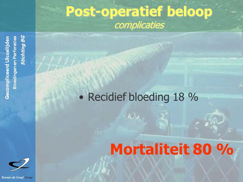 Gecompliceerd Ulcuslijden Bloedingen en Perforaties Stichting BG Reinier de Graaf Groep Recidief bloeding 18 % Post-operatief beloop complicaties Mortaliteit 80 %