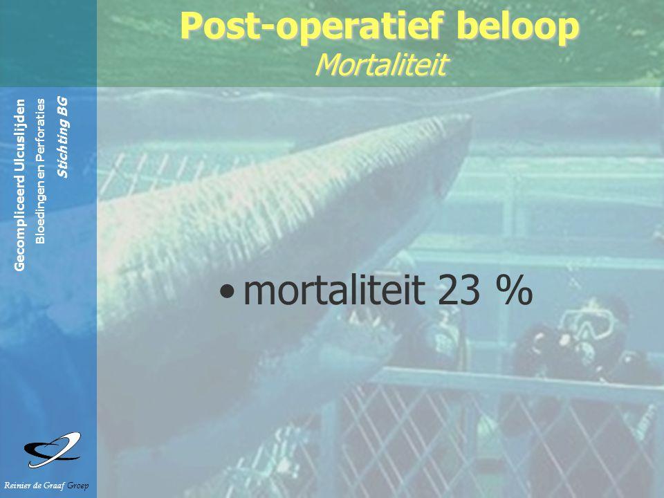 Gecompliceerd Ulcuslijden Bloedingen en Perforaties Stichting BG Reinier de Graaf Groep Post-operatief beloop Mortaliteit mortaliteit 23 %