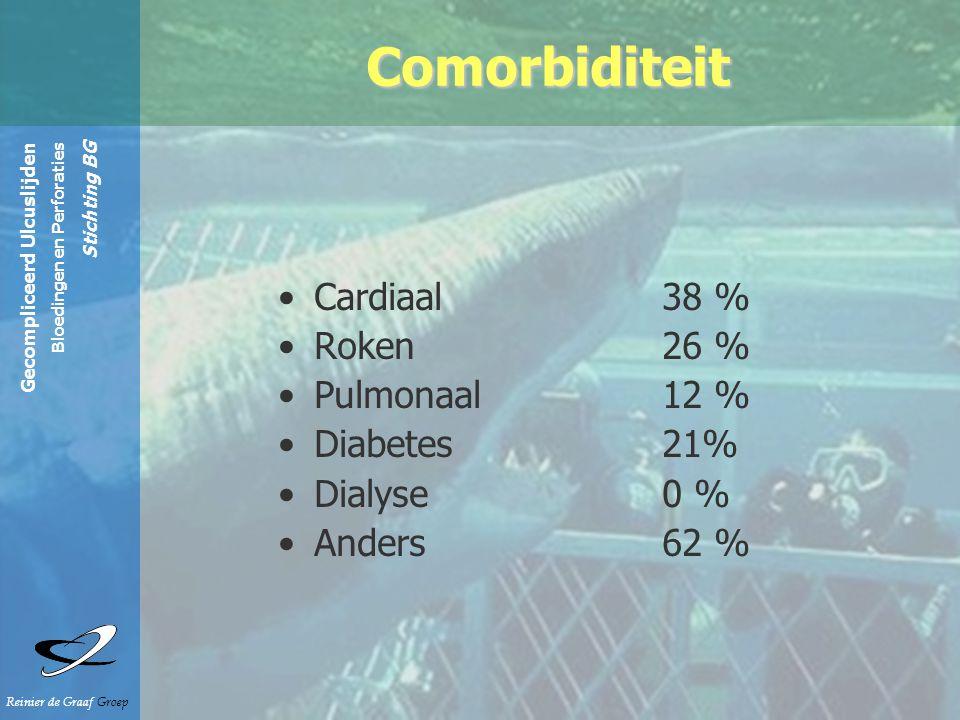 Gecompliceerd Ulcuslijden Bloedingen en Perforaties Stichting BG Reinier de Graaf Groep Cardiaal 38 % Roken 26 % Pulmonaal 12 % Diabetes 21% Dialyse 0 % Anders 62 % Comorbiditeit