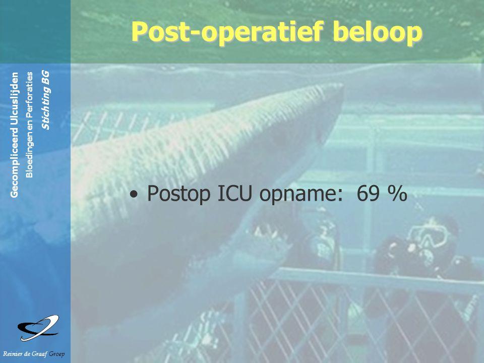 Gecompliceerd Ulcuslijden Bloedingen en Perforaties Stichting BG Reinier de Graaf Groep Postop ICU opname: 69 % Post-operatief beloop