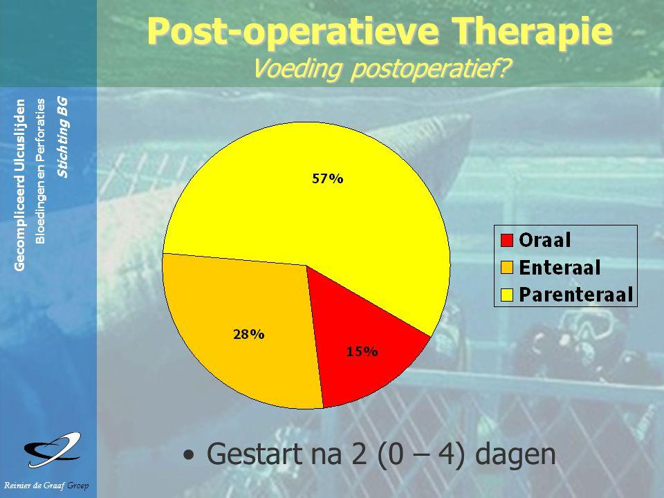 Gecompliceerd Ulcuslijden Bloedingen en Perforaties Stichting BG Reinier de Graaf Groep Post-operatieve Therapie Voeding postoperatief.